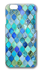 linJUN FENGApple Iphone 6 Case,WENJORS Cute Cobalt Blue Aqua Gold Decorative Moroccan Tile Pattern Hard Case Protective Shell Cell Phone Cover For Apple Iphone 6 (4.7 Inch) - PC 3D