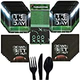 Football Birthday Super Bowl Party Supplies Pack Decorations – Serves 16 Guests – Includes Square Plates Napkins Cutlery Table Cover – It's Game Day – Tailgating Sunday Game Playoffs Touchdown