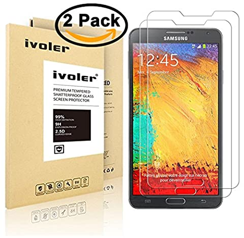 [2 Pack] iVoler [Tempered Glass] Screen Protector for Samsung Galaxy Note 3, [0.2mm Ultra Thin 9H Hardness 2.5D Round Edge] with Lifetime Replacement Warranty
