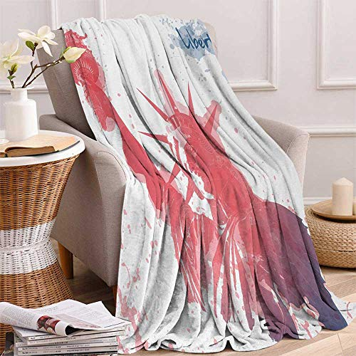 4th of July Warm Microfiber All Season Blanket Watercolor Lady Liberty Silhouette with Paint Splashes Independence Print Artwork Image 60x50 Inch Dark Coral Pale Blue