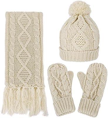 da9dfd96f10 Women's Winter Warm 3PC Beige Cable Knit Gloves Scarf Beanie Hat Set ...