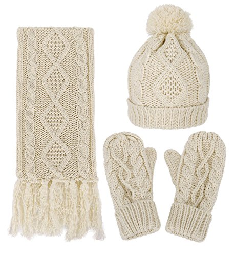 Womens Winter Cable Beanie Gloves product image