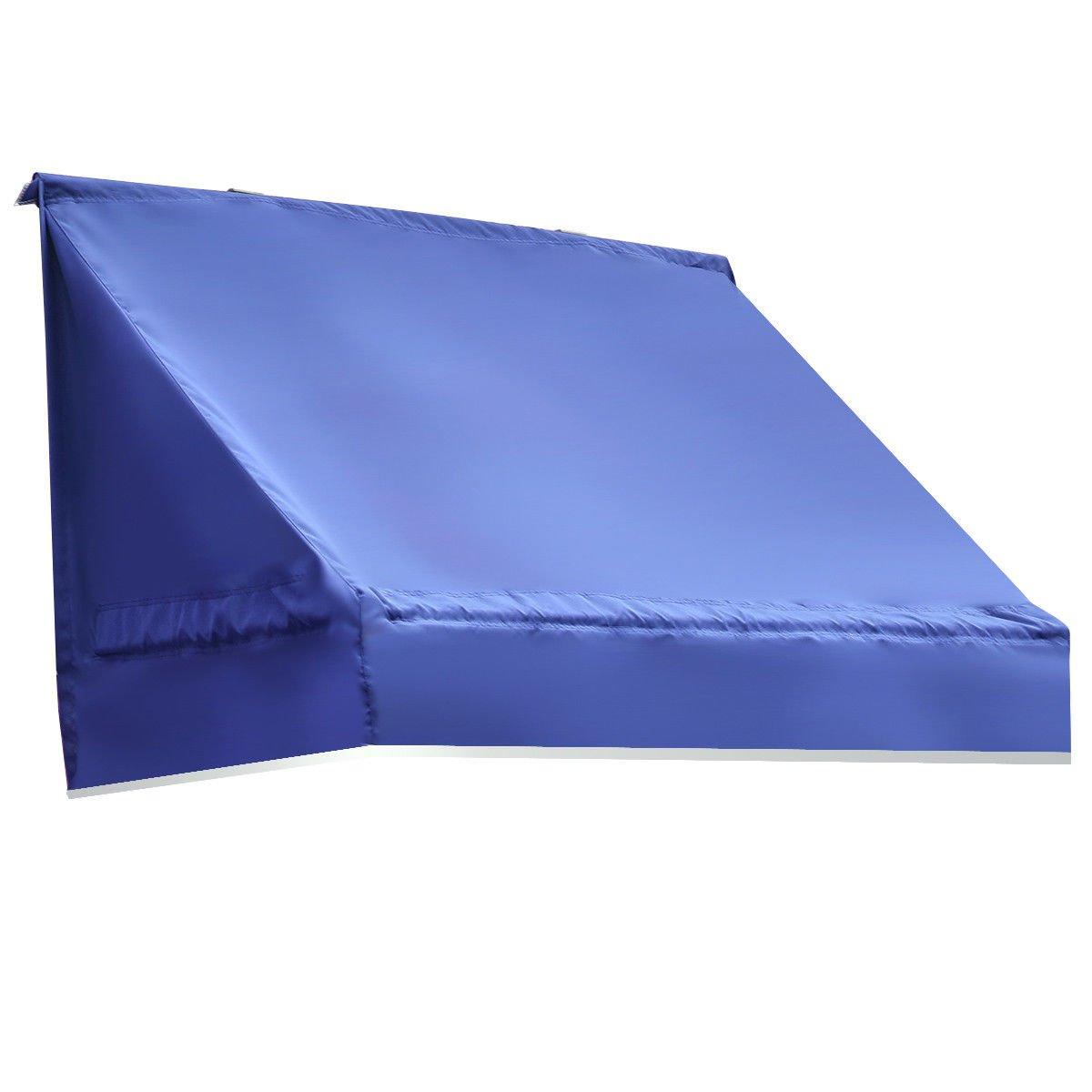 Tangkula Window Awning Outdoor Patio Door Canopy Decorator Sun Rain Shelter (2x6 ft, Blue)