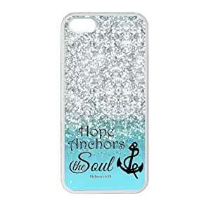 iPhone 5 5S Case Cover - Hope Anchor Soul Hebrew 6:19 - Bible Verse Blue Sparkles Glitter Design Case Cover for iPhone 5 5S For Impact Protection Super Fit iPhone 5 5S TPU(Laser Technology) - by runtopwell