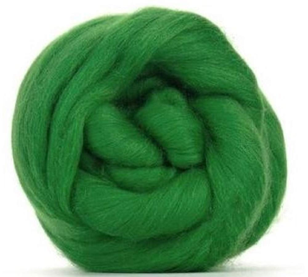 4 oz Paradise Fibers 64 Count Dyed Lawn (Green) Merino Top Spinning Fiber Luxuriously Soft Wool Top Roving for Spinning with Spindle or Wheel, Felting, Blending and Weaving