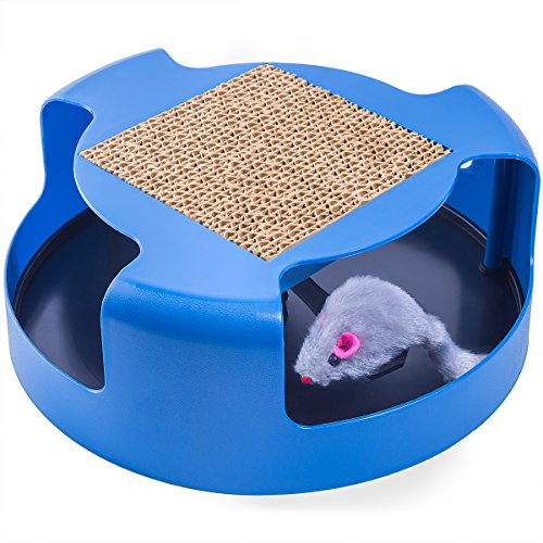 OxGord Interactive Training Exercise Cat Kitten Mouse Play Toy with Turbo Scratching Post Pad 512291PR 2BLL