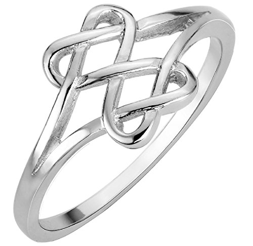 CloseoutWarehouse Sterling Silver Hearts Infinity Fusion Ring Size 9