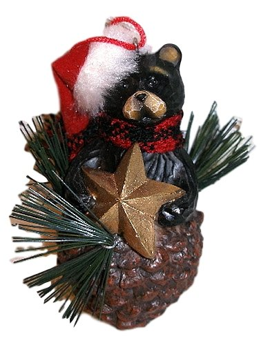 Northwoods Pinecone (Northwood Black Bear in Santa Hat w/ Gold Star Resin Pinecone Christmas Ornament)