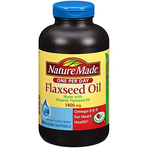 Nature Made Organic Flaxseed Oil 1,400 mg - Omega-3-6-9 for Heart Health - 300 Softgels (Pack of 3)