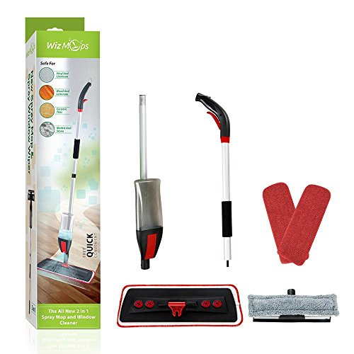 Spray Mop & Window Cleaner Kit | 2 x Reusable Microfibre Pad with 600ml...