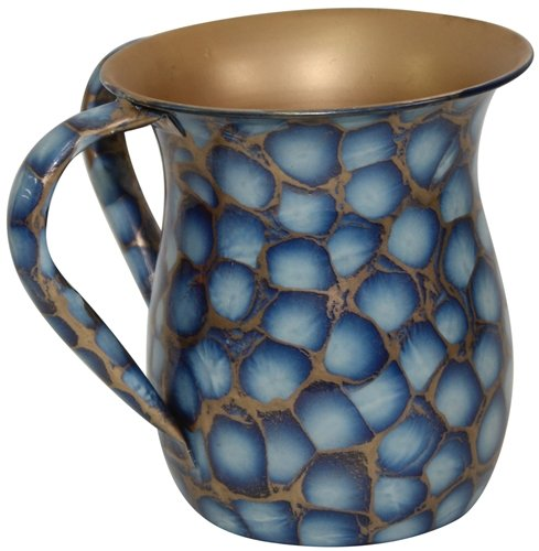 Ben & Jonah Ultimate Judaica Wash Cup Stainless Steel Blue/Gold Marble - 5.5