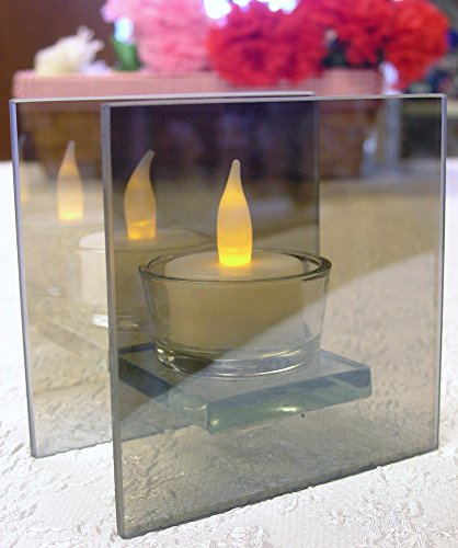 Infinity Tealight Candle Holder - Mirrored Glass Holder with LED Tealight Included- Seasonal, Party and Everyday Collection Infinity Glass Shelf