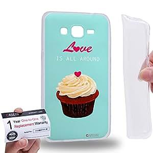 Case88 [Samsung Galaxy Grand Prime] Gel TPU Carcasa/Funda & Tarjeta de garantía - Art Drawing Love Is All Around Cupcake Assorted Art1293