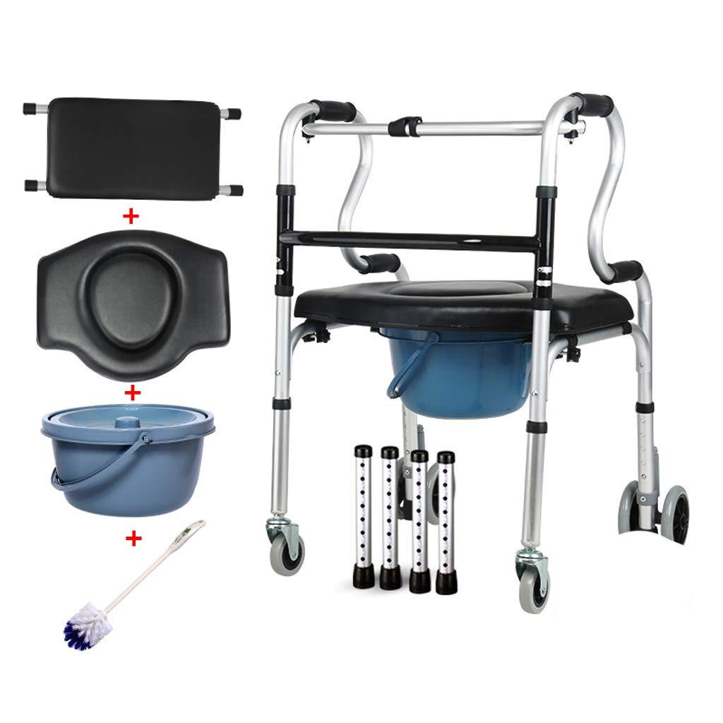 移動歩行支援 ロッキングホイールとキャスター付きの軽量シャワー便器チェア、ハンディキャップと高齢者のためのトイレとシャワーの上の車輪付きコンボ便器チェア リハビリ補助   B07QRP2KN5
