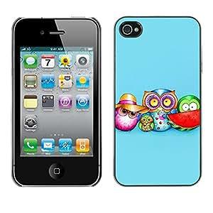 Paccase / SLIM PC / Aliminium Casa Carcasa Funda Case Cover - Cute Colorful Owl Pattern - Apple Iphone 4 / 4S