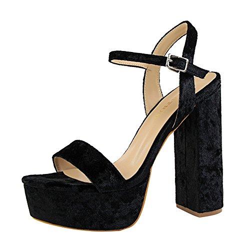 z&dw Elegante talón sexy super alta impermeable tabla de terciopelo con sandalias Negro