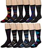 Men's Cotton Blend Dress Socks - 12 Pairs of Asstd Patterns and Colors - by ZEKE
