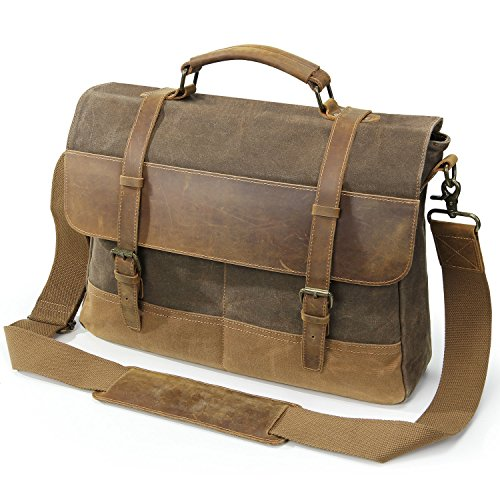 - Lifewit Mens Messenger Bag 15.6 Inch Waterproof Vintage Waxed Canvas Genuine Leather Laptop Bag Computer Shoulder Handbag