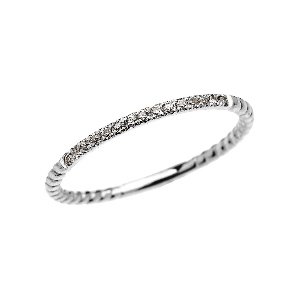 14k White Gold Dainty Diamond Stackable Rope Design Ring(Size 6.5)