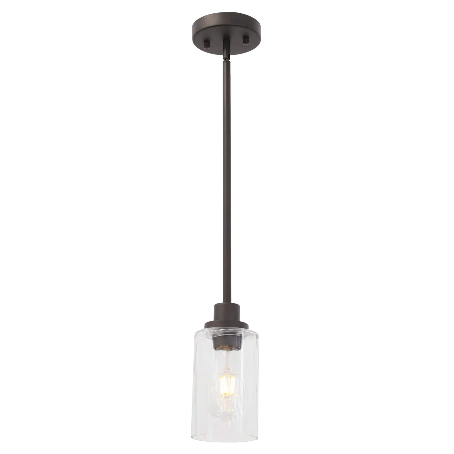 TODOLUZ Single Light Clear Cylinder Glass Shade Oil Rubbed Bronze Hanging Pendant Light Modern Fixture for Kitchen Dining Room Bedroom