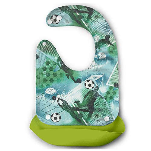 KZEMATLI Sports Soccer Boy Soccer Blue Green Baby Bibs Waterproof Silicone Bib for Easily Wipes Clean Comfortable Soft Adjustable