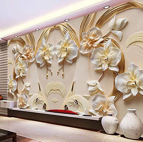 Weaeo カスタム3D壁画の壁紙胡蝶蘭のエンボス壁紙の3D砂岩の救済壁画のリビングルームソファの寝室の壁紙-450X300CM B07GYTYM12  450X300CM