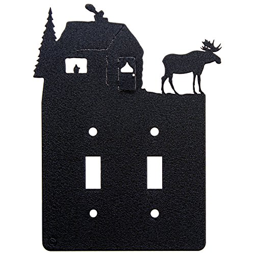 Switchplate Moose Covers - Moose & Cabin Double Light Switch Plate Cover