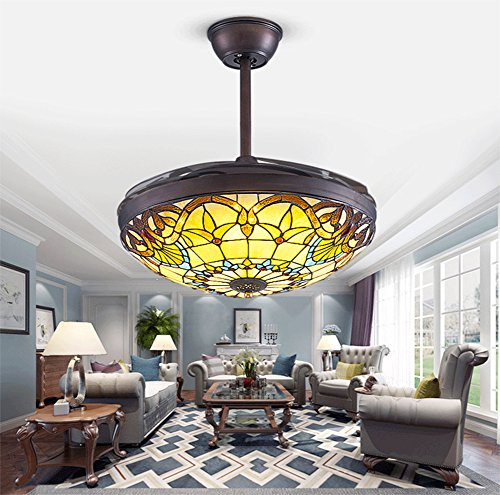 Yue Jia 42 Inch Promoting Natural Ventilation Black Invisible Fan Modern Luxury Dimmable (Warm/Daylight/Cool White) Chandelier Foldable Ceiling Fans With Lights Ceiling Fans with Remote Control by YUEJIA (Image #1)