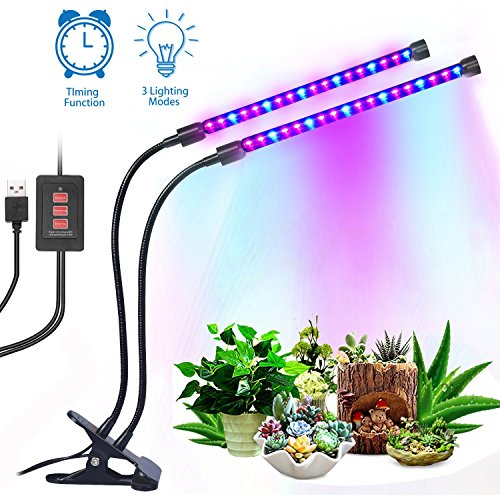 12W Dual Head Timing Grow Lamp, 36 LED Chips with Red/Blue Spectrum for Indoor Plants, Adjustable Gooseneck, 3/6/12H Timer, 5 Dimmable Levels for potted plants, flowering plants, foliage, and succulen by Tomus-UNI
