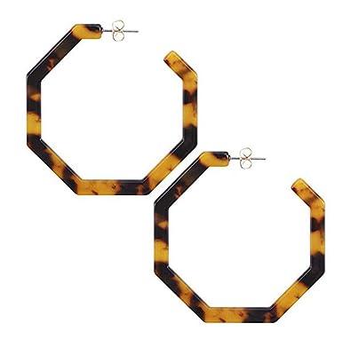 465fe72cf8 ... Fashion Women¡¯S Mottled Dangle Hoop Earrings Bohemia Acrylic Resin Big  Hoops Acetate Stud Earrings Set Leopard Print Tortoise Shell Color  Jewelry