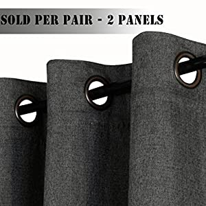 H.Versailtex (Set of 2) Thermal Insulated Textured Rich Material Linen Extra Long Curtains,Traditional Antique Grommet Patio Door Curtain Panels,52x108 inches - Charcoal Gray