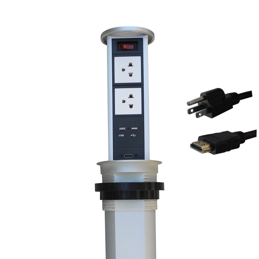 Automatic Raising Type Outlet with 2 Power USB Charger and HDMI for Desktop ZESHAN