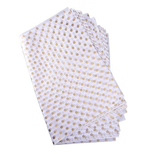 Shappy Polka Dots Tissue Paper Dot Wrapping Paper, Gold and White, 28 Inch by 20 Inch, 30 Sheets ()