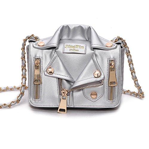 Main Rivet Silver Sacs Femmes Cuir Bag Sacs Haoling en Messenger Femmes Veste Épaule Vêtements Chaîne de Moto Sacs O6nnUq0T