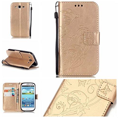 Galaxy S3 Case, ARSUE Premium Vintage Emboss Butterfly Fl...