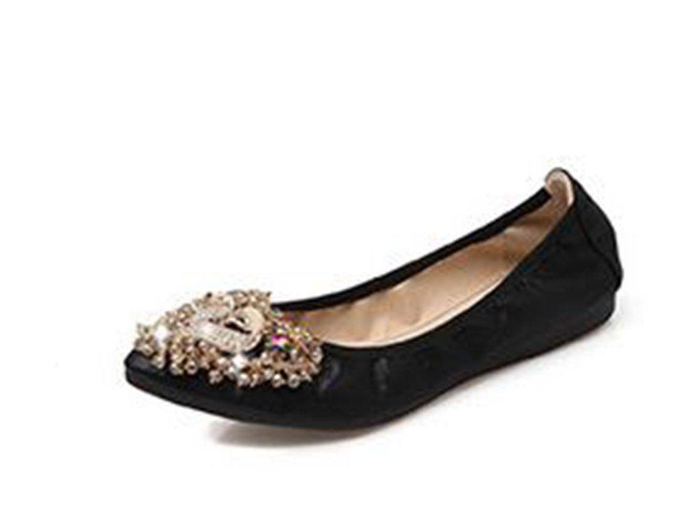 Fancyww Womens Foldable Soft Pointed Toe Ballet Flats Rhinestone Comfort Slip on Flat Shoes B07F6C4N4R 43/12 B(M) US Women|Black