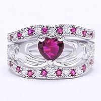 siamsmilethailand Women Fashion 925 Silver Heart Opal Sapphire Ruby Gemstone Claddagh Ring Wedding (12)