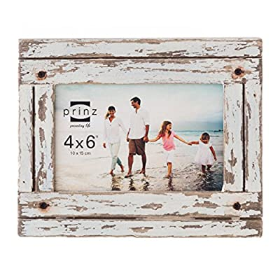 PRINZ Homestead 4-Inch by 6-Inch Distressed Plank Picture Frame, White - Wood frame with hand distressed white finish Wood plank look Two-way easel for vertical or horizontal display - picture-frames, bedroom-decor, bedroom - 5122CHtFLBL. SS400  -