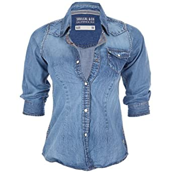bbeb4653c3 Soul Cal Deluxe Fitted Denim Shirt - Blue - Womens - 18  Amazon.co.uk   Clothing