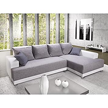 Générique Toscana canapé d angle Droit Convertible 5 Places - 264x163x87cm  - Simili Blanc et f2b0f4c4fd66