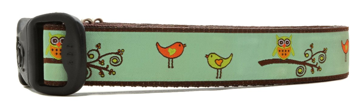 Mint and Brown Large 1\ Mint and Brown Large 1\ 3 Dirty Dawgz Adjustable 1  Spring Birds and Owls Summer Dog Collars for Medium Large and X-large Dogs ( Large 1  (17 - 27  Neck), Mint and Brown)