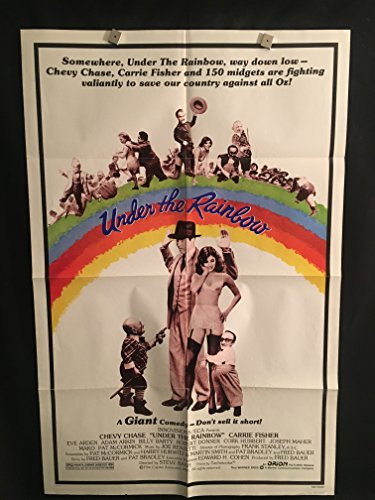 (Under The Rainbow 1981 Original Vintage One Sheet Movie Poster, Chevy Chase, Carrie Fisher, Wizard Of Oz Midgets, Little)