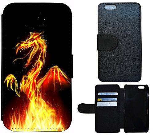 Flip Cover Schutz Hülle Handy Tasche Etui Case für (Apple iPhone 4 / 4s, 1298 Drache Dragon Schwarz Gelb Rot)