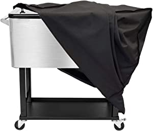 Cooler Cart Cover, Cooler Chest Cover Universal Fit for Most 80 QT (Patio Cooler On Wheels, Beverage Cart, Rolling Ice Chest, Party Cooler), 36L x 19.5W x 31.5H inch , 600D Oxford Waterproof Cover