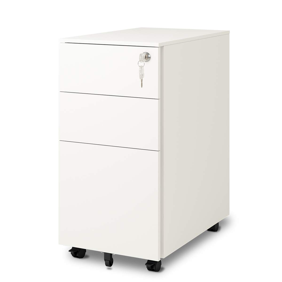 DEVAISE 3-Drawer Metal File Cabinet with Lock, Mobile Pedestal in Black