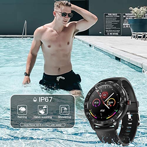 CanMixs Smart Watch for Android iOS Phones, 1.3″ Touch Screen Bluetooth Fitness Tracker Watches for Men Women, IP67 Waterproof Activity Tracker with Heart Rate Monitor Sleep Compatible Samsung iPhone 5122DEIGbTL
