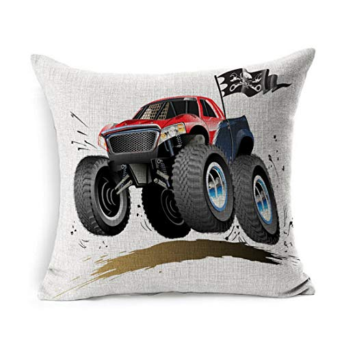 Ahawoso Linen Throw Pillow Cover Square 20x20 Hot Fun Monster Tire Truck Available Offroad Automotive Car Race Cool Tyre Wheel Show Jump Off Automobile Skull Pillowcase Home Decor Cushion Pillow Case