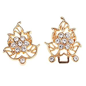 HOMYL 1 Pair Decorative Crafts Buttons Crystal Gold/White Metal Hook Eyes Clasp for Sewing Supplies - Gold