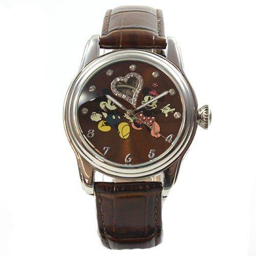 Disney Reloj mujer automático reloj Mickey Mouse y Minnie Ratón brillantes dibujos animados correa de piel: Amazon.es: Relojes