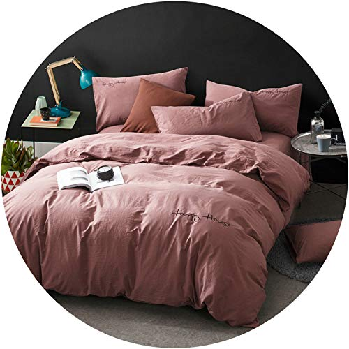 (better-caress Washed Cotton Yellow Green Blue Gray Purple Pink Bedding Sets Bed Sheet Queen King Size 4pcs,1,Queen Size 4pcs)